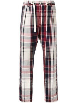 East Harbour Surplus drawstring plaid trousers - Red