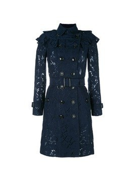 Burberry embroidered double breasted coat - Blue