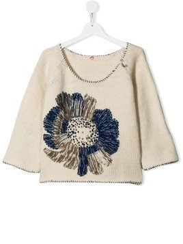 Pero Kids floral-embroidered jumper - Neutrals