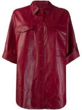 Karl Lagerfeld leather shirt jacket - Red