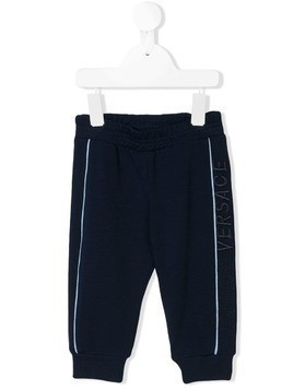 Young Versace logo embroidered track pants - Blue