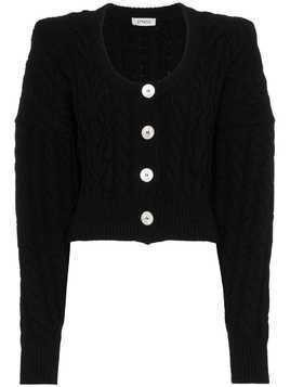 Attico Long Sleeve Wool Cardigan - Black
