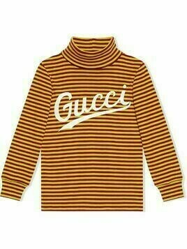 Gucci Kids logo print striped top - Yellow