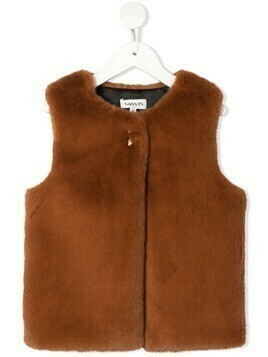 LANVIN Enfant faux-fur round neck gilet - Brown