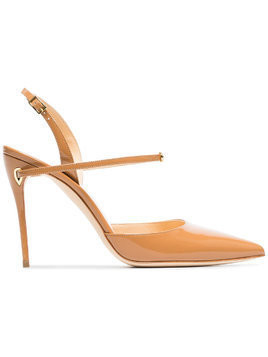 Jennifer Chamandi camel Vittorio 105 patent leather pumps - Brown