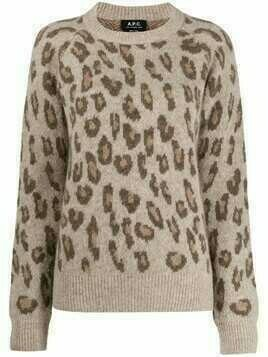 A.P.C. leopard print knitted jumper - Brown