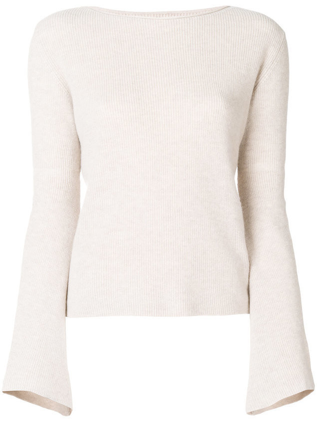 Fine Edge bell sleeve sweater - Nude & Neutrals