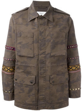 Fashion Clinic Timeless embroidered sleeve field jacket - Green