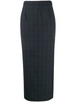 Maison Margiela checked long pencil skirt - Grey
