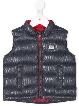 Emporio Armani Kids logo print quilted vest - Blue