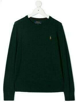 Ralph Lauren Kids embroidered logo jumper - Green