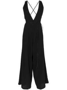 Caravana Pakkun V neck wide leg cotton jumpsuit - Black