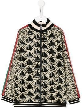 Gucci Kids sailboat and anchor jacquard top - NEUTRALS