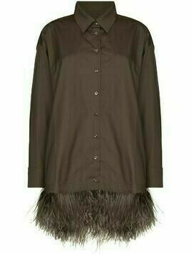 Marques'Almeida feather-trimmed shirt - Green