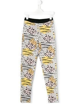 Kenzo Kids leopard and tiger stripe printed leggings - Multicolour