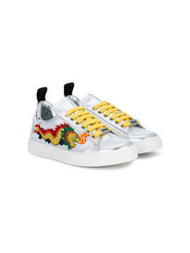 Am66 dragon embroidered sneakers - Metallic