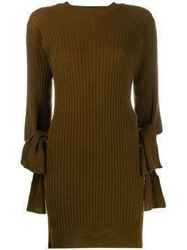 Maison Flaneur long ribbed fitted jumper - Brown