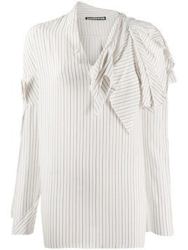 Aganovich striped raw edge shirt - White