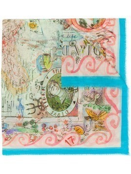 Faliero Sarti illustration print scarf - Blue