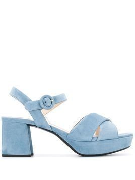 Prada platform 65mm suede sandals - Blue