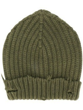 Unravel Project distressed ribbed-knit beanie - Green