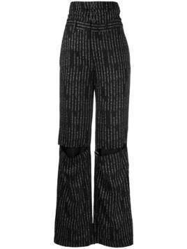 Unravel Project striped wide-leg trousers - Black