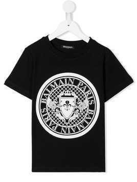 Balmain Kids printed logo T-shirt - Black