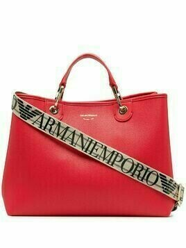 Emporio Armani logo-print pebbled tote bag - Red