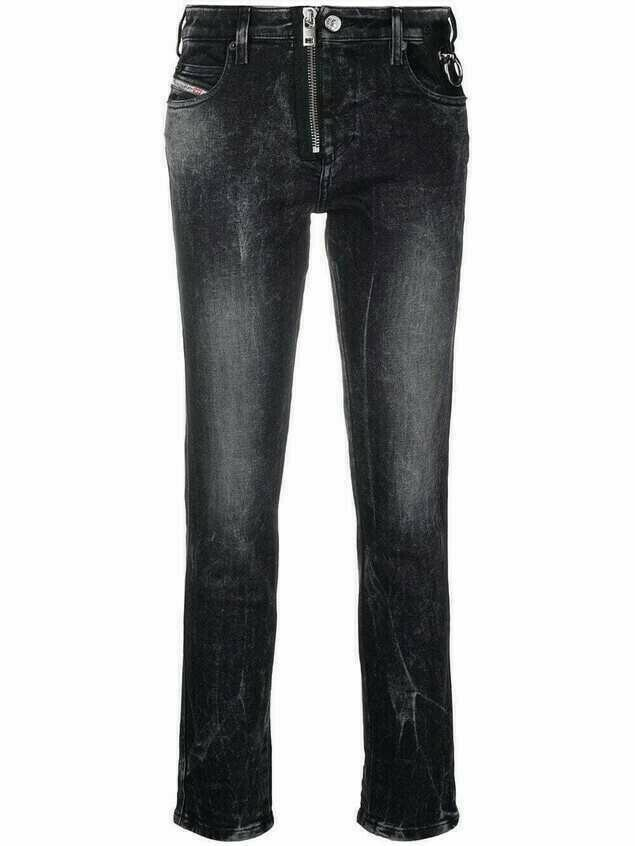 Diesel vintage wash cropped jeans - Black