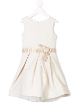 Miss Grant Kids rhinestone embellished dress - Neutrals