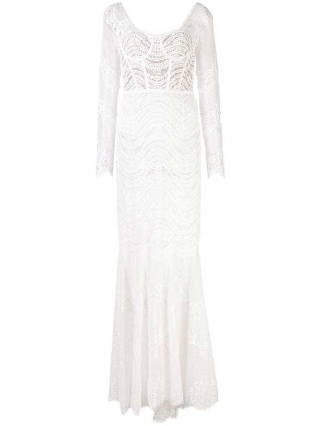 Jonathan Simkhai embroidered long-sleeve gown - White