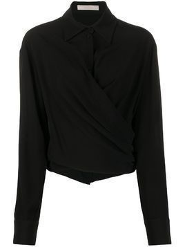 Ssheena wrap long sleeve shirt - Black