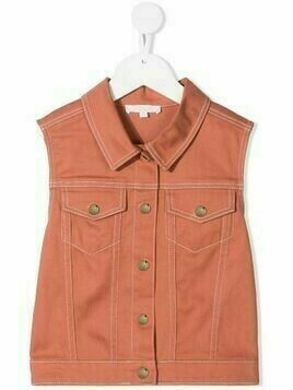 Chloé Kids sleeveless denim jacket - Orange