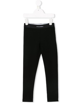 Dolce & Gabbana Kids logo waistband leggings - Black