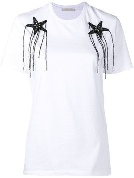 Amen appliqué flowers T-shirt - White