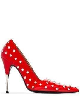 Area 95mm studded pumps - Red