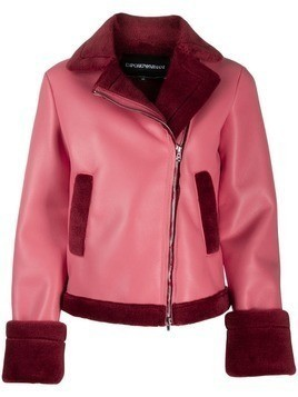Emporio Armani shearling lined jacket - Red