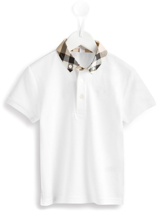 Burberry Kids check collar polo shirt - White