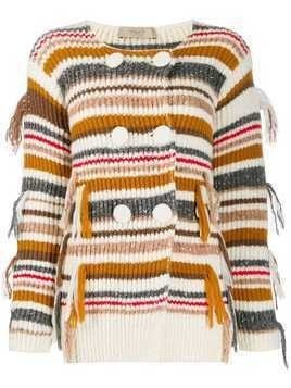 Maison Flaneur striped double-breasted cardigan - White