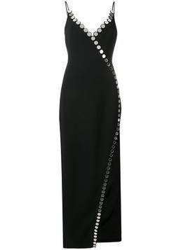 David Koma circle embellished trim gown - Black