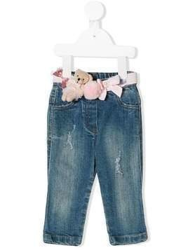 Lapin House belt applique distressed jeans - Blue