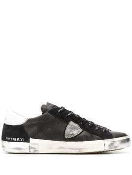 Philippe Model Paris distressed low-top trainers - Black