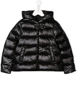 Fay Kids quilted hooded coat - Black