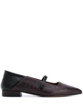 L'Autre Chose crocodile two-tone ballerina shoes - Brown
