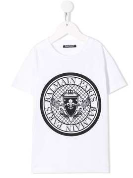 Balmain Kids printed logo T-shirt - White
