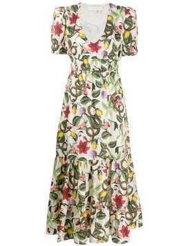 Borgo De Nor Lucia tropical print flared dress - White