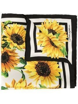 Dolce & Gabbana sunflower-print silk scarf - Yellow