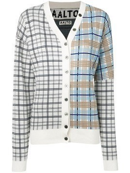 Aalto plaid contrast cardigan - White