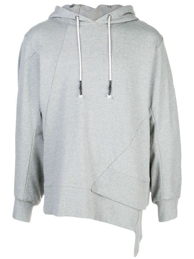 Mostly Heard Rarely Seen staggered hem hoodie - Grey