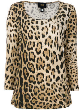 Cavalli Class - scoop neck leopard T-shirt - Damen - Viscose - M - Brown